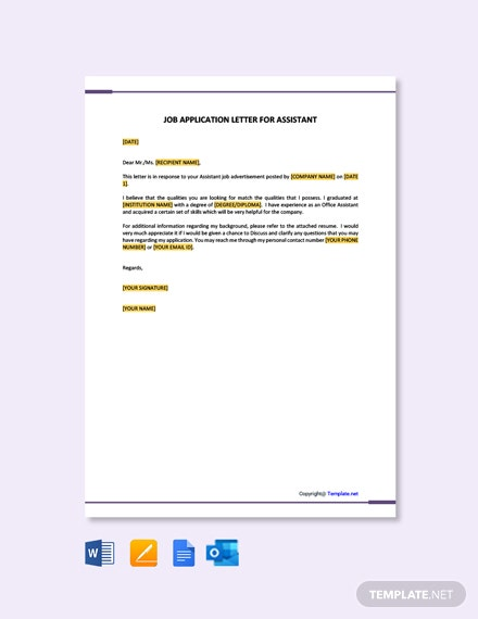 Free Job Application Letter Template For Assistant