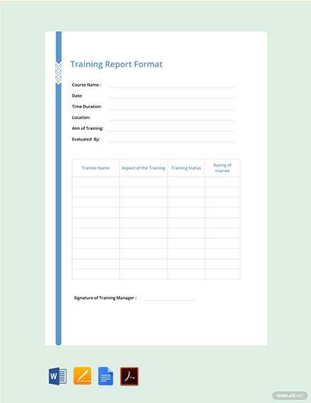 Free Training Report Format