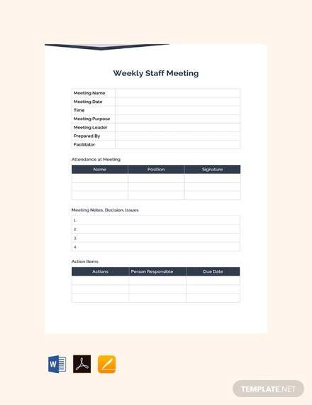 Free Weekly Staff Meeting Template