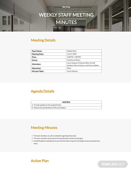 Free Weekly Staff Meeting Template