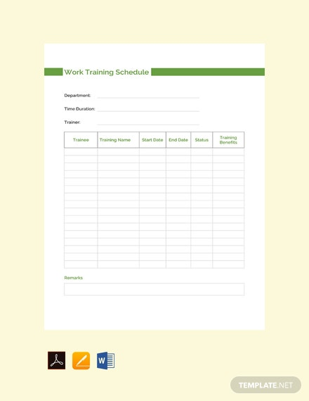 Free Work Training Schedule