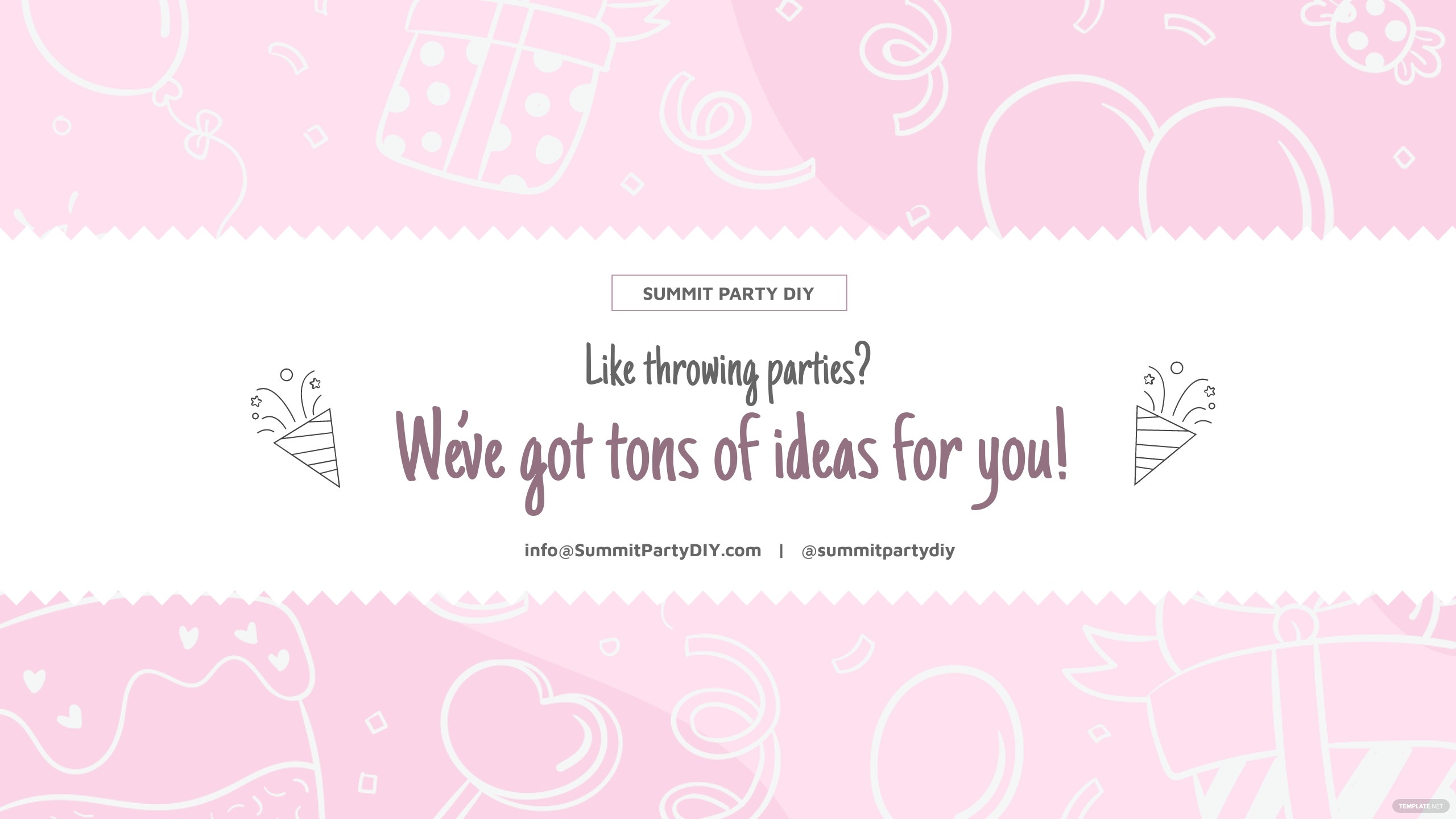Party Ideas Youtube Channel Art Template.jpe