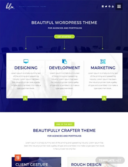 Free Blu Agency Html5 Css3 Website Template