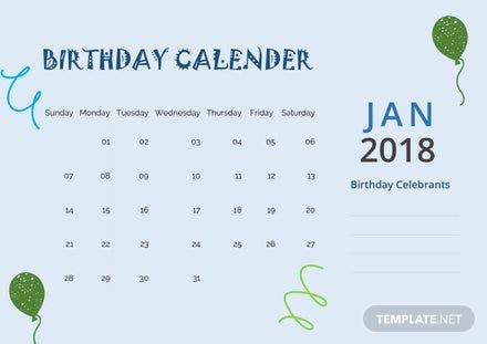 Sample Birthday Calendar Template