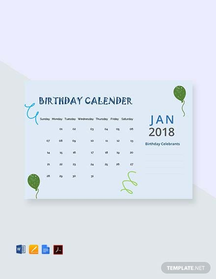 sample birthday calendar template 1