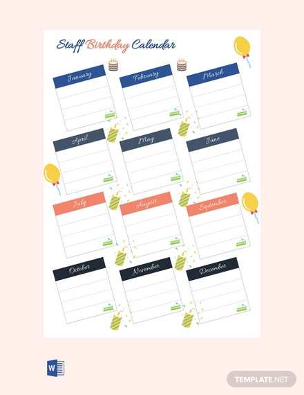free staff birthday calendar template  download 378