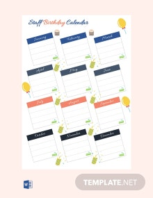 Free Staff Birthday Calendar Template