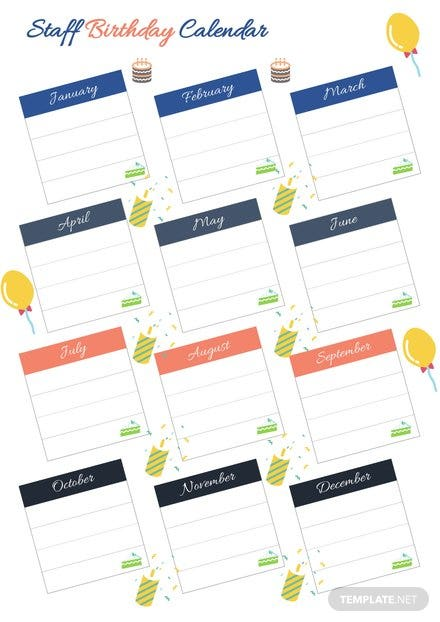 Staff Birthday Calendar Template