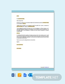 Free Job Application Letter Template For Software Engineer