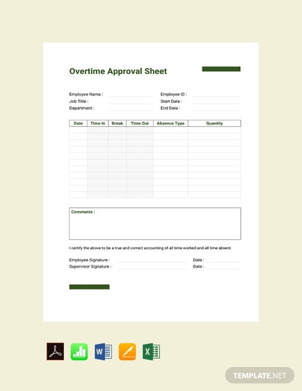 Free Overtime Approval Sheet Template