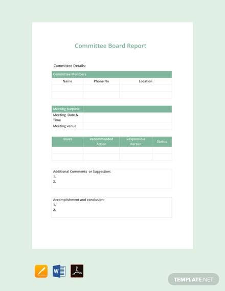 Free Committee Board Report Template