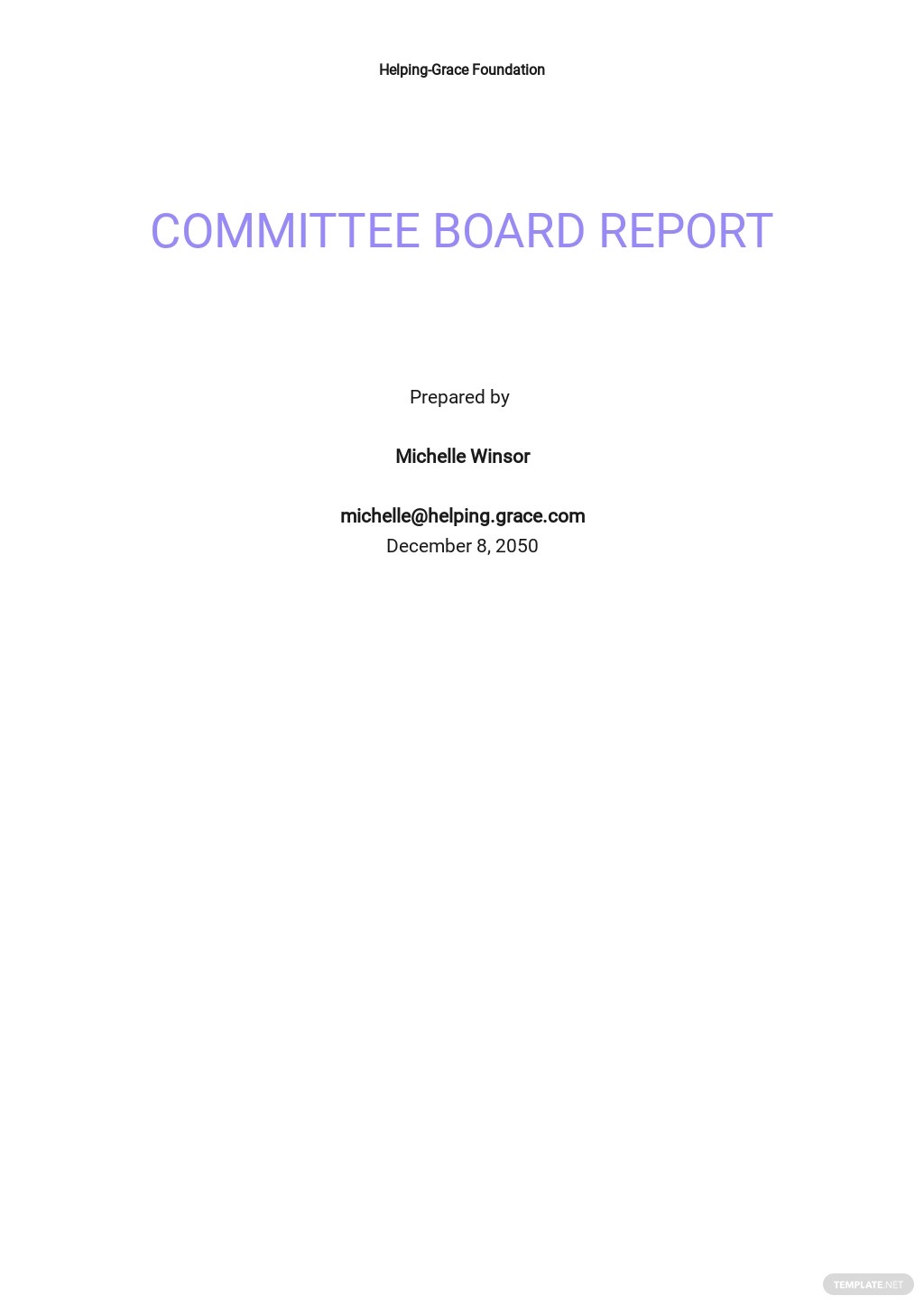 Committee Board Report Template