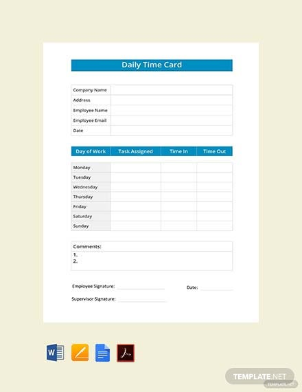 Free Daily Time Card Template
