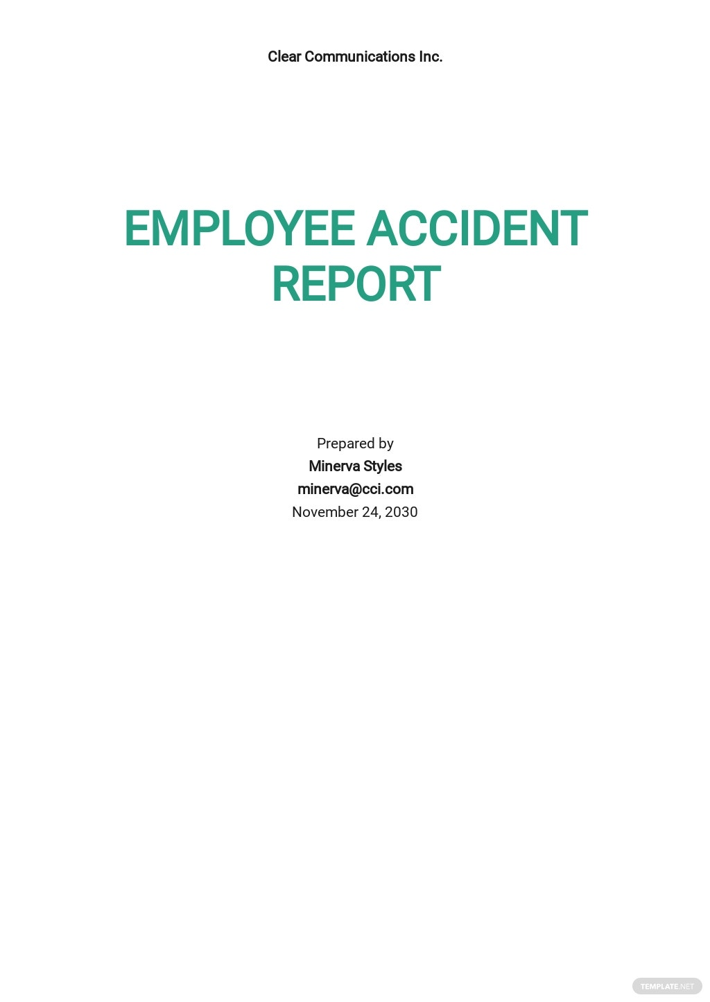 Employee Accident Report Template