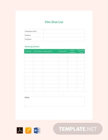 Free Film Shot List Template