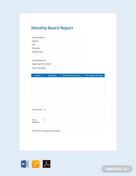 free monthly board report template 440x570 1