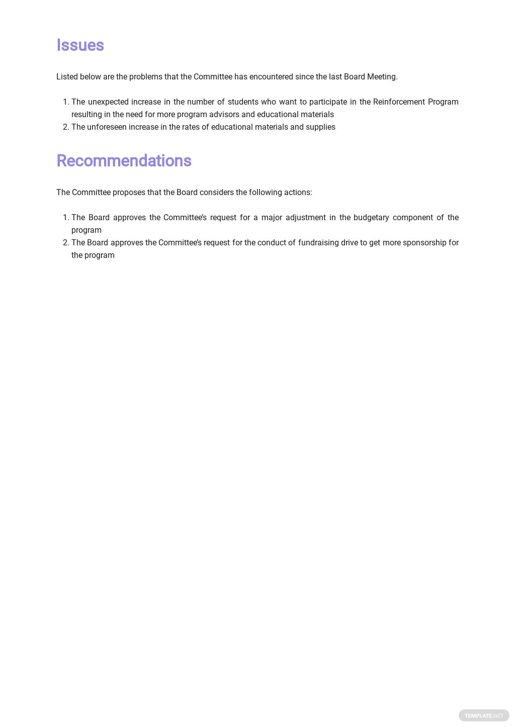 Free School Board Report Template 2.jpe