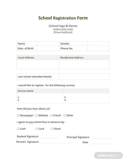 Free School Registration Form Template