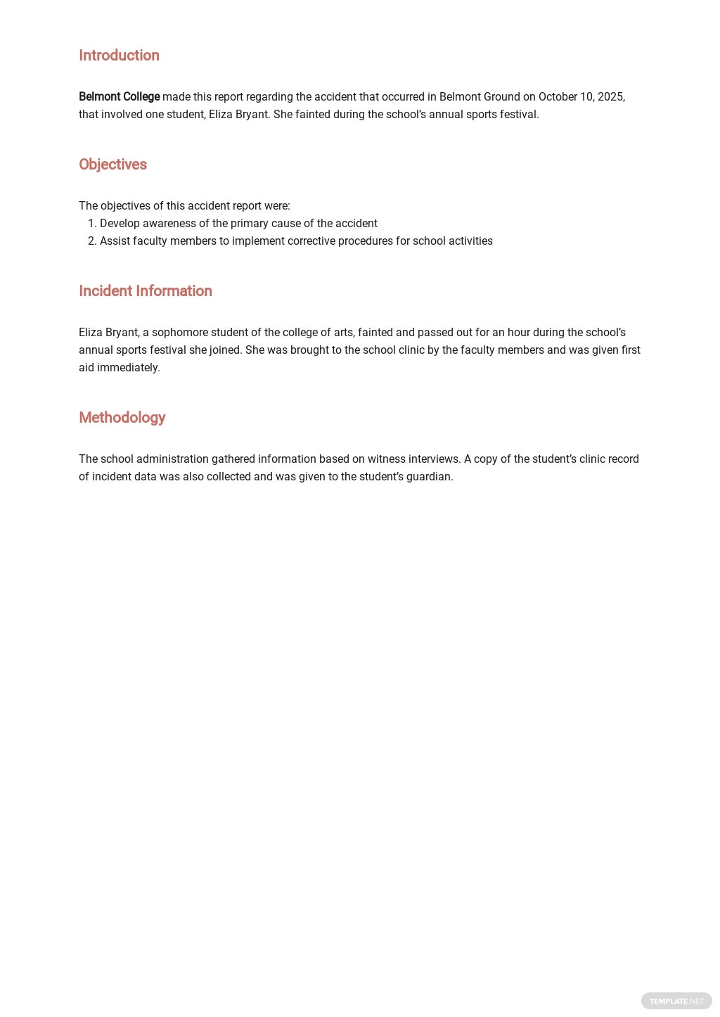 Free Student Accident Report Template 1.jpe