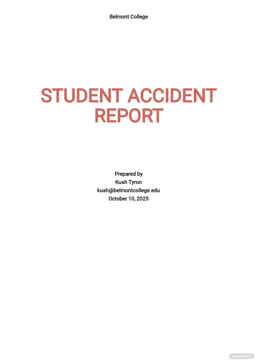 Free Student Accident Report Template.jpe