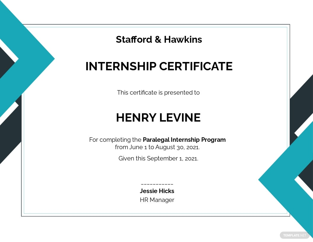 Law Internship Certificate Template