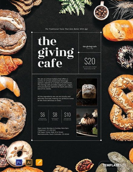 Free Artisan Bakery Poster Template Psd Apple Pages
