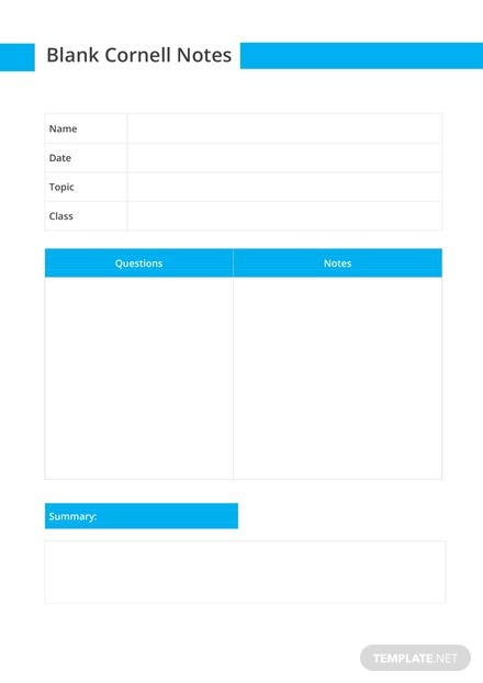 Blank Cornell Notes Template