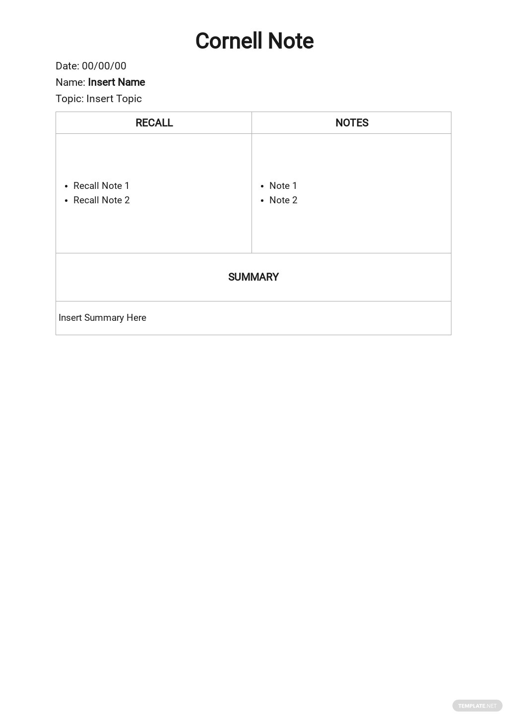 Free Blank Cornell Notes Template.jpe