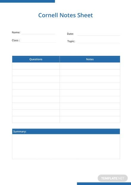 Cornell Notes Sheet Template