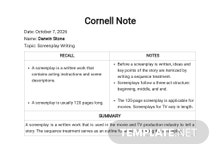 Free Cornell Notes Sheet Template