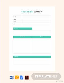 Free Cornell Notes Summary Template