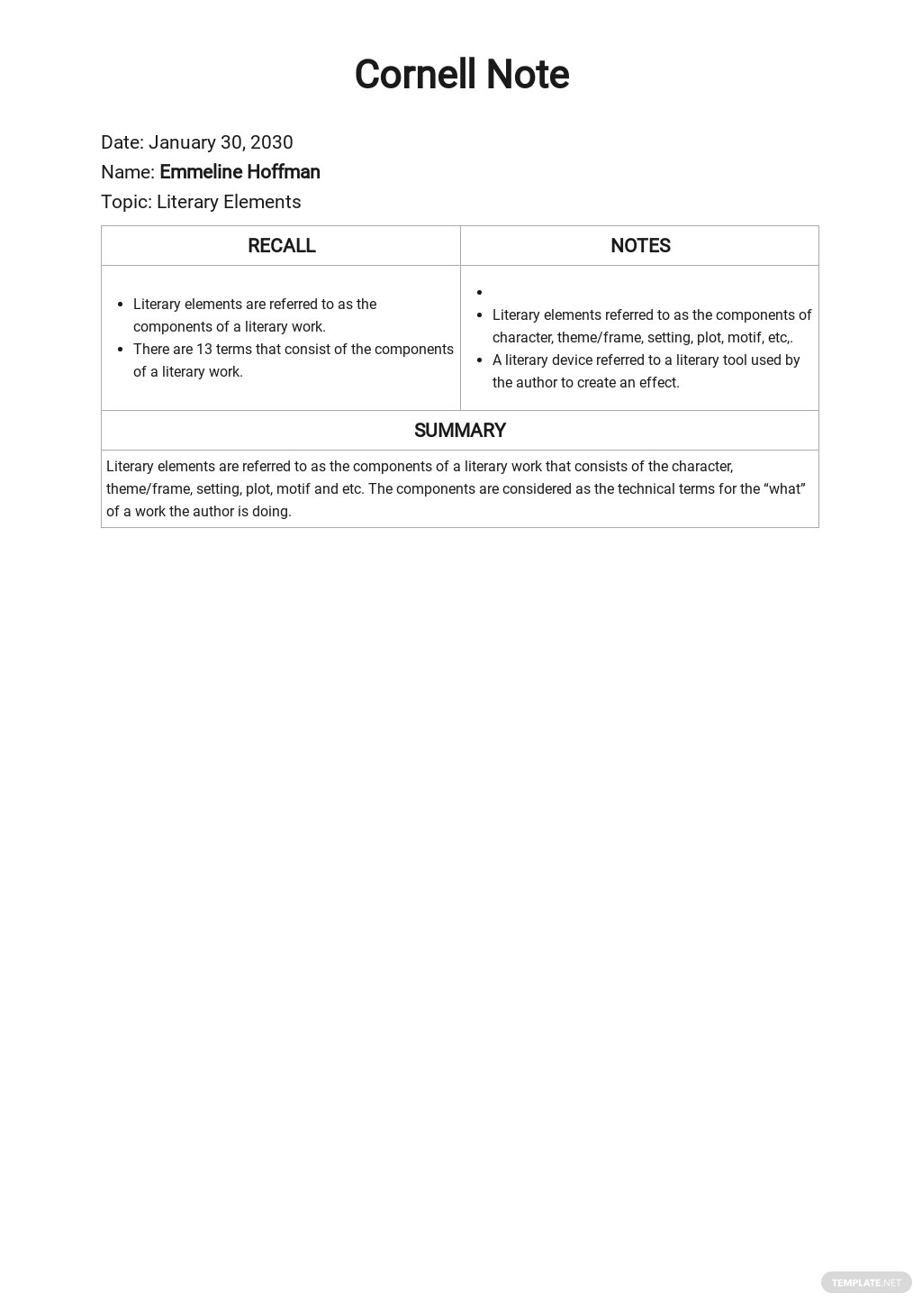 Cornell Notes Summary Template