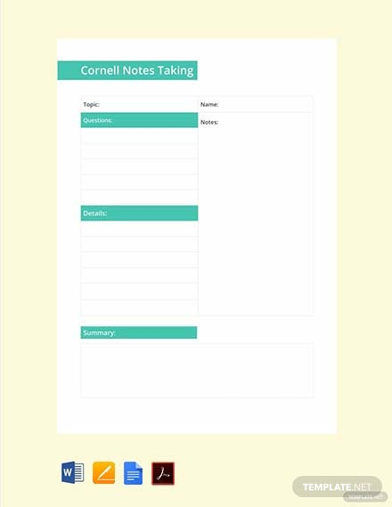 Free Cornell Notes Taking Template
