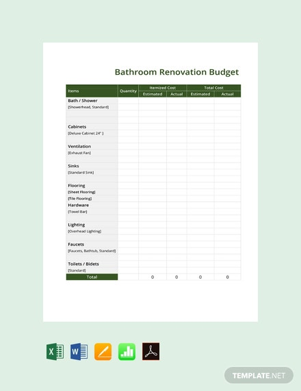 free bathroom renovation budget template download 239 sheets in