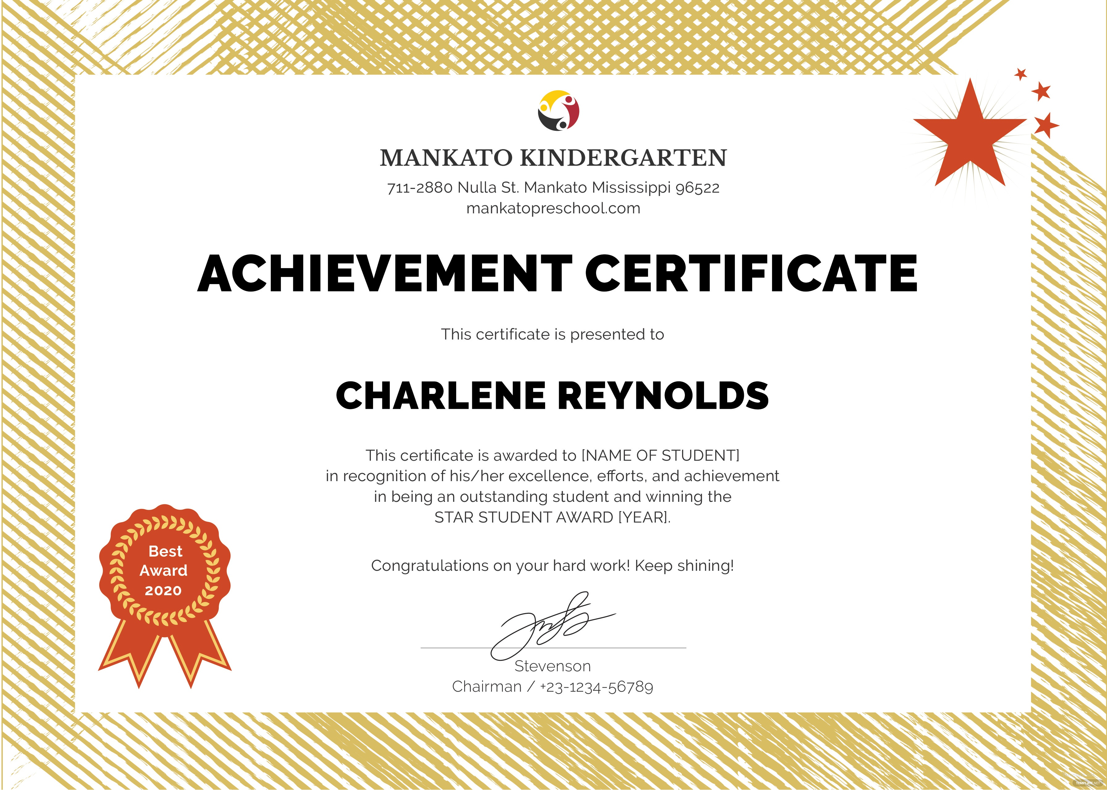 Free kindergarten certificate template in illustrator for This entitles the bearer to template certificate