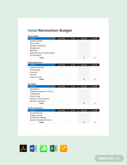Free Hotel Renovation Budget Template