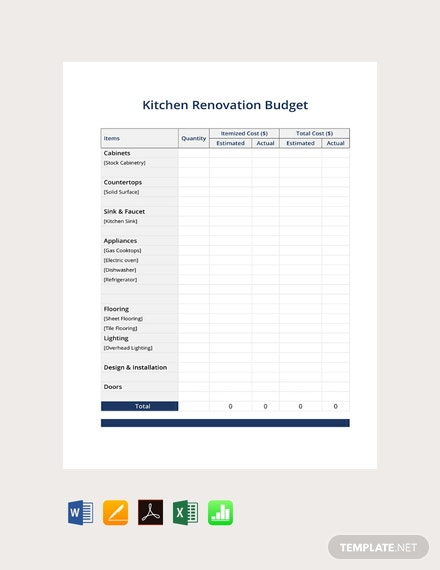 Free Kitchen Renovation Budget Template