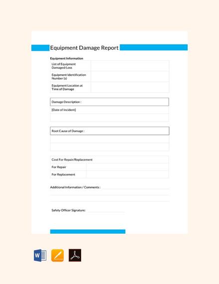 Free Equipment Damage Report Template