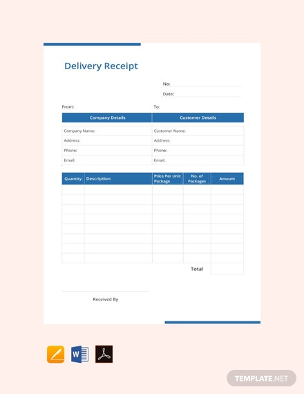 Free Delivery Receipt Template