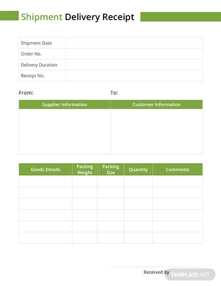 Shipment Delivery Receipt Template