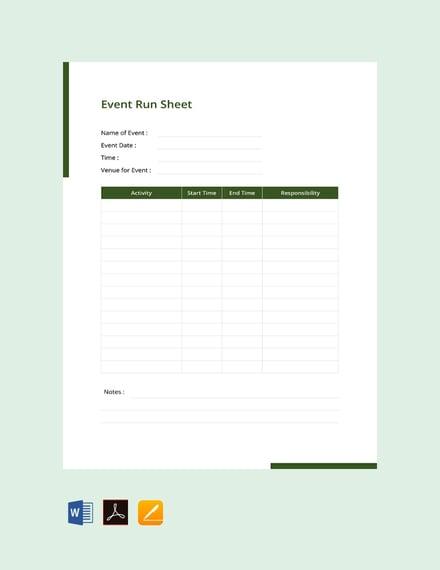 Free Event Run Sheet Template