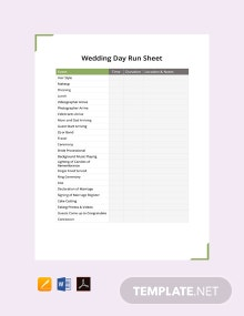 Free Wedding Day Run Sheet Template