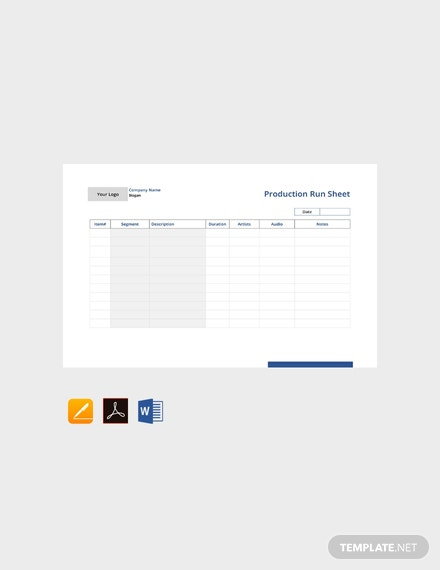 Free Production Run Sheet Template