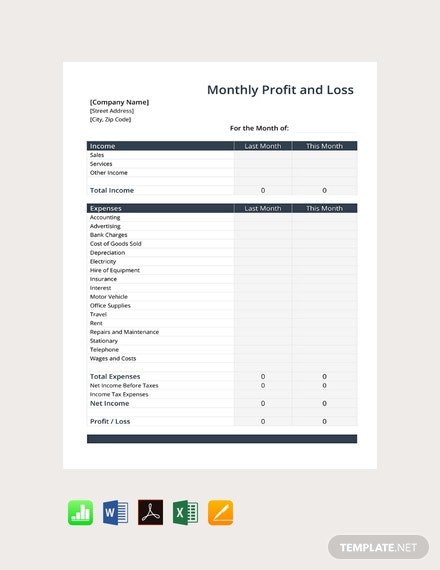 Free Monthly Profit and Loss Template