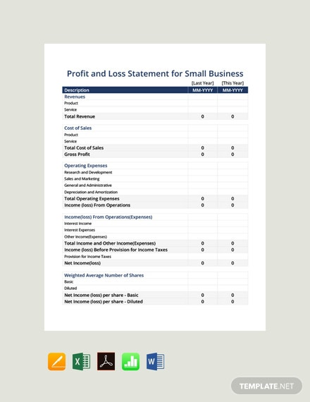 Free Profit and Loss Statement For Small Business Template