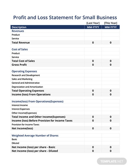 Free profit and loss statement for small business template download free profit and loss statement for small business template flashek Image collections
