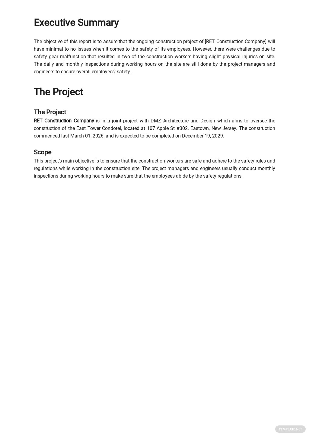 Free Monthly Safety Activity Report Template 1.jpe