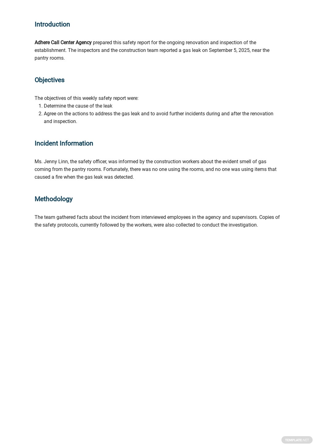 Free Weekly Safety Report Template 1.jpe