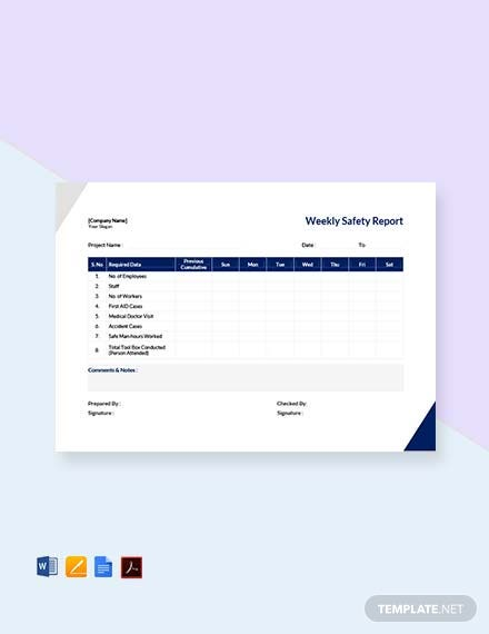Free Weekly Safety Report Template