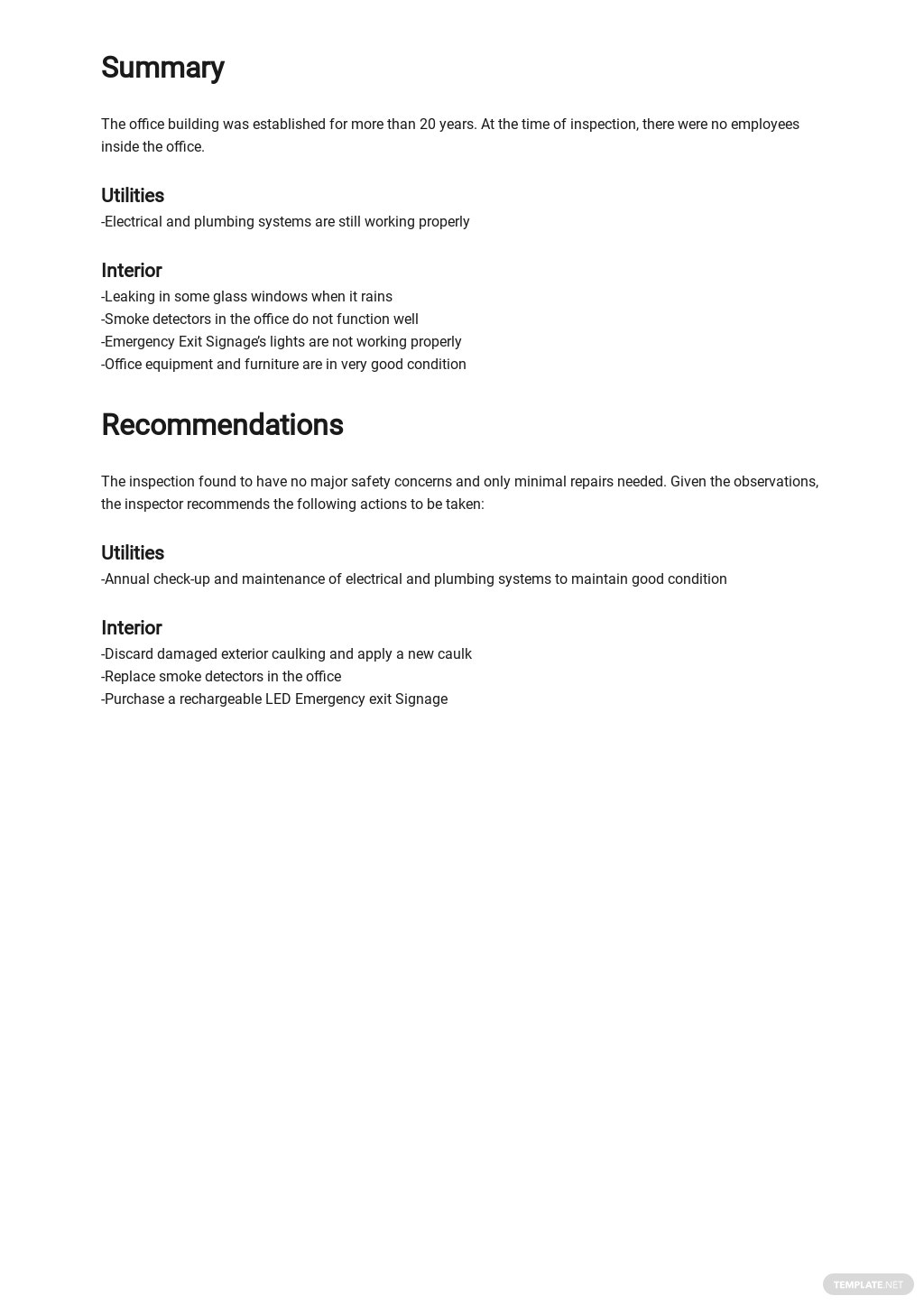 Free Monthly Safety Inspection Report Template 2.jpe